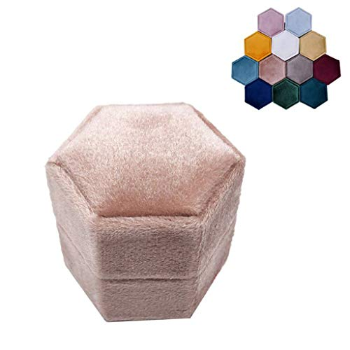 ZJL220 Caja de terciopelo hexagonal para anillo – Magnífico soporte de exhibición vintage con tapa desmontable para el día de San Valentín, propuesta, compromiso, ceremonia de boda (G86)