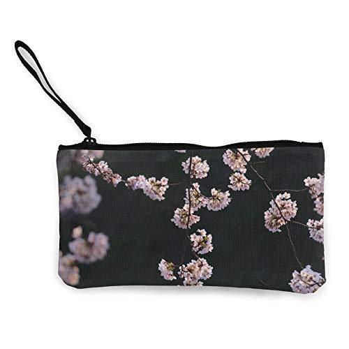 Moneda de lona, bonito monedero de flores rosadas con cremallera, bolsa de cosméticos de viaje multifunción, bolsa de maquillaje para teléfono móvil, paquete de lápices con asa