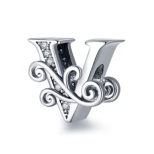 Annmors Letter Charm 925 Sterling Silver Jewelry Making Initial Charm A-Z Charm for Women Alphabet Charms fit pandora Bracelets Beads Snake Chain Necklace (V)