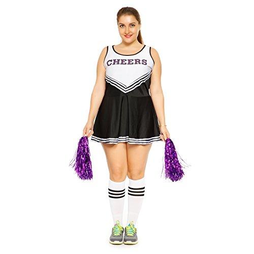 maboobie Tenue Complete Debardeur Jupe a Volant Pom-Pom Girls Cheerleader Noir a Rayures Blanches AV/ 2 Pompons XL (42-44)