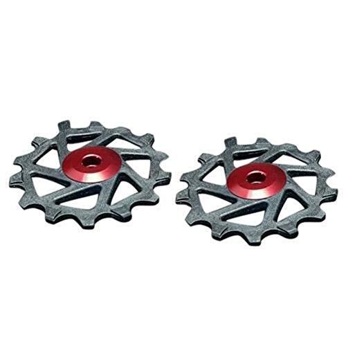 DER Roue de Guide de VTT 2pcs 14T Roulement Céramique VTT Galet Dérailleur arrière Roue de Bicyclette Guide vélo Idler Rouleau Partie for X-TR SRAM XX1 VTT (Color : Red)