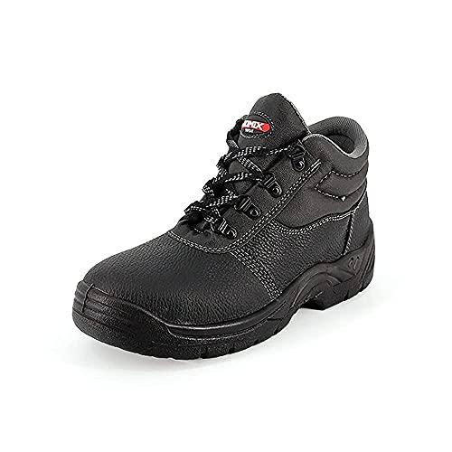 Zapatos de trabajo de hombre GU0461 Botas de seguridad de piel sintética con suela antideslizante, punta reforzada de acero Negro Size: 44 EU