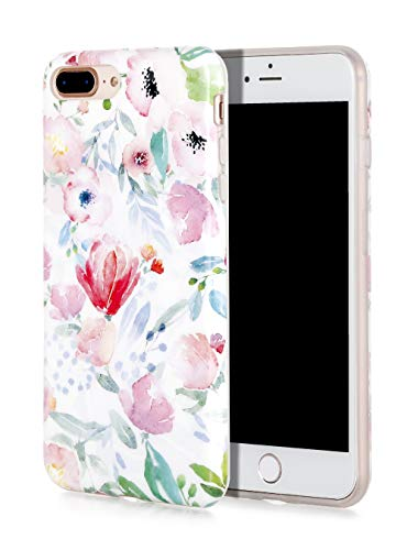 SunshineCases Flower iPhone Case (Compatible: Apple iPhone 8 Plus / iPhone 7 Plus Case) Slim, Cute and Protective Phone Case Cover for Women & Girls, Easy to Grip (Watercolor Botanical Floral)