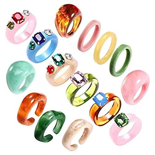 Anello vintage acrilico grosso resina acrilico moda per le donne adolescenti ragazze gelatina anelli multicolore anelli impilabili vintage carino quadrato anelli trasparenti