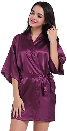 Dames Kamerjas Nachtjapon Gewaden Dames Kimono Gewaden Kamerjas Satijnen pyjama Badjas Nachthemd Pure Kleur Korte Sexy Dames Strappy Nachtkleding Sexy Nachtkleding-X-groot_Zilver grijs Excellent