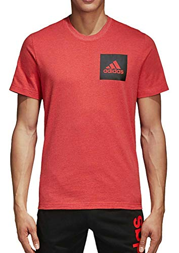 adidas Maglietta da Uomo Essentials Chest Logo, Uomo, T-Shirt, CD2839, Hi-RES Red Mel, S