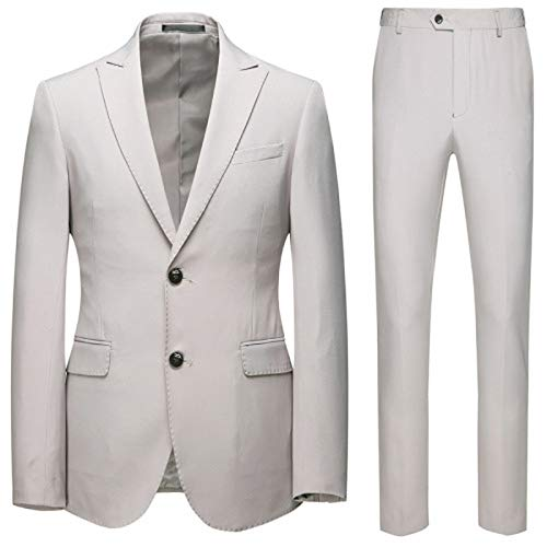 Hopereo Large Size Business Casual Suit 2 Pieces Groom Best Man Wedding Two-Button Suit-Light Grey-XXXL