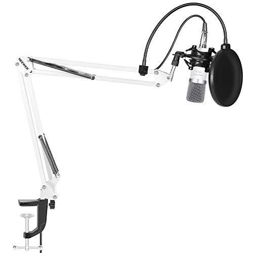 Neewer NW-700Set de micrófono: (1) Micrófono de condensador + (1) Suspensión de Micrófono con brazo y abrazadera de fijación + (1) Filtro de pops + (1) soporte antichoque (Color Blanco)