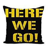 Topyee Throw Pillow Cover 18x18 Inch Pittsburgh Here We Go Steelers Football Home Decor Pillowcases Square Pillow Cases Cushion Covers for Sofa Couch Bed