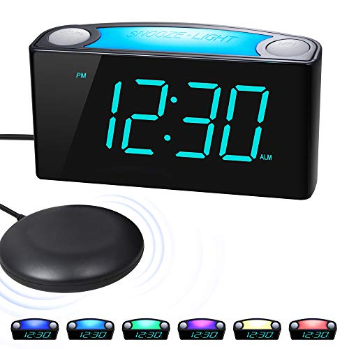 ROCAM Vibrating Loud Alarm Clock with Bed Shaker, Best Sounds, Large LED Display with Dimmer, 7...