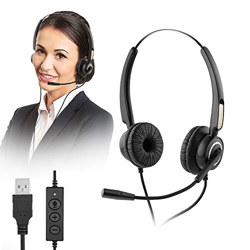 USB Computer Headset, MCHEETA Call Center Noise Cancelling Microphone Headset, Wired Phone Headset with Mute for Skype Calls/Online Course/Laptop/PC