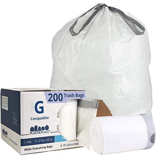 Plasticplace Custom Fit Trash Bags │ Simplehuman Code G Compatible (200Count) │ White Drawstring Garbage Liners 8 Gallon/ 30 Liter │ 17.5' X 28'