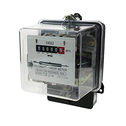 BeMatik - Contador medidor de Electricidad monofásico 20A 230V 50Hz de plástico Transparente 80A máx.