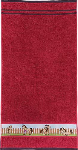 Erwin Müller Kinder-Handtuch Frottier rot Größe 50x100 cm - mit Pferdemotiv auf Bordüre, weich, hautfreundlich, 100% Baumwolle