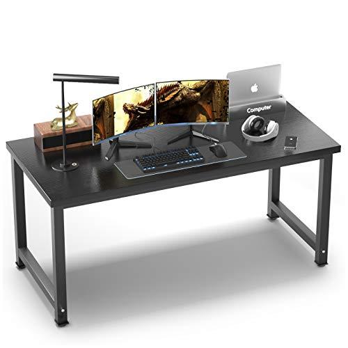 "NSdirect 63"" Computer Desk,Large Home Office Desk Wide Workstation 1"" Thicker TabletopforWriting,GamingandHomeWork PC Desk ModernFinishWoodBoardandSturdySteelLegs,Black"