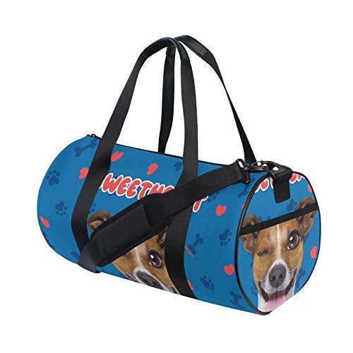 UNISE Jack Russell Terrier Emoticon Dog Sweetheart Sports Duffels Bags Canvas Crossbody Weekender Bag Handbag for Gym Travel Overnight Men & Women