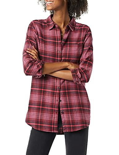Amazon Brand - Goodthreads Women's Flannel Relaxed Fit Boyfriend Tunic, Burgundy Scottish Plaid, Large