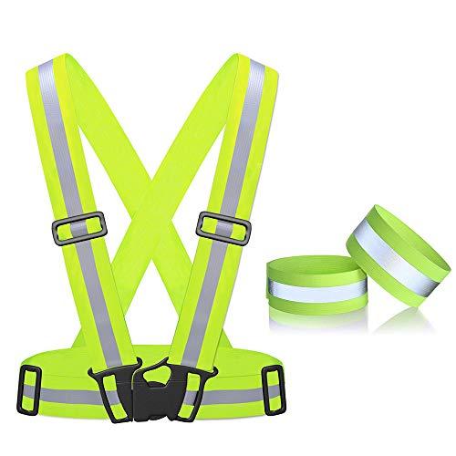 ANKKY Warnweste Fahrrad Reflektorweste Einstellbar & Hohe Sichtbarkeit Sicherheitsweste mit Reflektorband Armband für Jogging Laufen Jugendliche Fahrrad Motorrad Herren/Damen