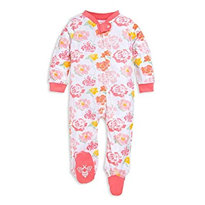 Burt's Bees Baby Unisex Baby Sleep & Play, Organic One-Piece Romper-Jumpsuit PJ, Zip Front Footed Pajama, Rosy Spring, Newborn