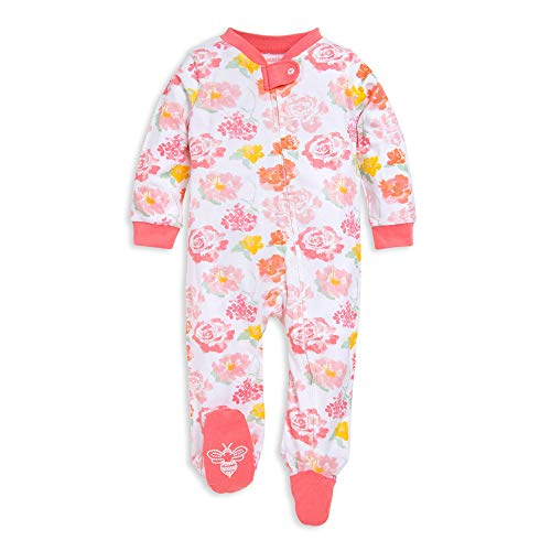 Burt's Bees Baby Unisex Baby Sleep & Play, Organic Pajamas, NB-9M One-Piece Zip Up Footed PJ Jumpsuit, Rosy Spring, 3-6 Months