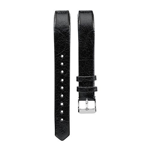Meiruo Leder Ersatzband Armband für Fitbit Alta/für Fitbit Alta HR (Schwarz)