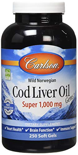 Carlson Labs Wild Norwegian Cod Liver Oil Gems softgels, 1000mg, 250-COunt