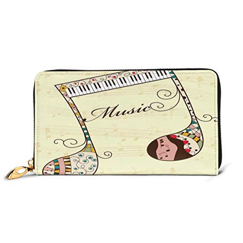 Women's Long Leather Card Holder Purse Zipper Buckle Elegant Clutch Wallet, Ornamental Piano Keyboard with Various Ethnic Patterns Classic Melody Rhythm Graphic,Sleek and Slim Travel Purse