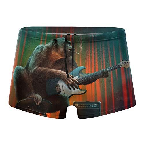 Traje de baño para hombre, divertido mono para fumar jugando a la guitarra, pantalones cortos de baño
