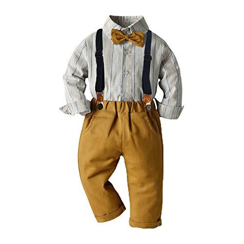 Minshao(TM) Completi da Uomo per Neonato Abiti per 0-4 Anni Camicia A Quadri A Maniche Lunghe + Pantaloni con Bretelle + Set di Vestiti per Tuta con Papillon