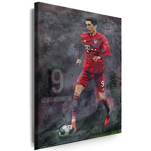 Myartstyle - Bilder R.Lewandowski FC Bayern München Fußball 60 x 40 cm Leinwandbilder XXL - 1 Teilige Wandbilder Kunstdrucke w-a-2045-1