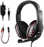Gaming Headset for PS4 Xbox One, Diswoe 3.5mm Wired Over-Head Stereo Gaming Headset Headphone with Mic Microphone, Volume Control for Sony PS4 PC Tablet Laptop Smartphone