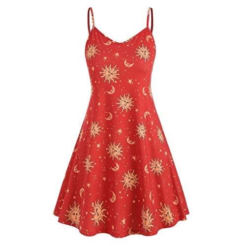 VIENNAR Vestido de verano sin mangas con cuello en V para mujer con estampado de estrellas y luna