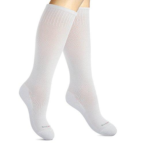 SocksLane Kompressionsstrümpfe Baumwolle für Frauen. Kompressionssocken Bei Krampfadern, auf Reisen (Weiß, Small-Medium)