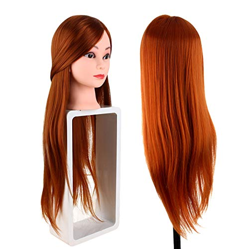 Professional 24' Hairdressing Dolls, Long Hair Mannequin, Hairdresser Practice Training Head Manikin Doll Head with Table Clamp, with Makeup (Light Brown 60CM)