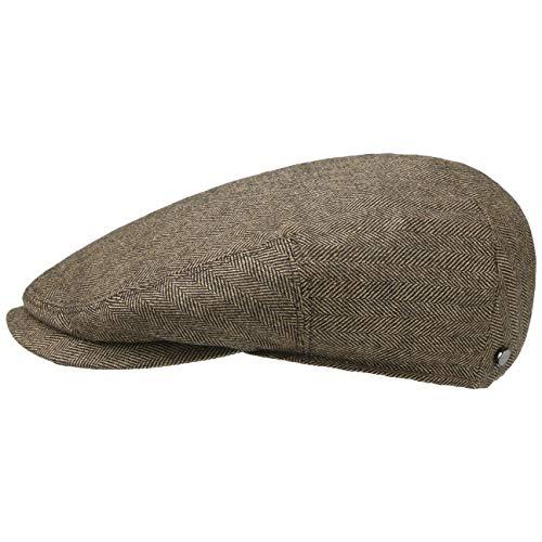 Stetson Gorra Gatsby de Espiga Bandera Hombre - Made in Germany Lana Beanie con Visera, Forro, Forro Verano/Invierno - 59 cm marrón