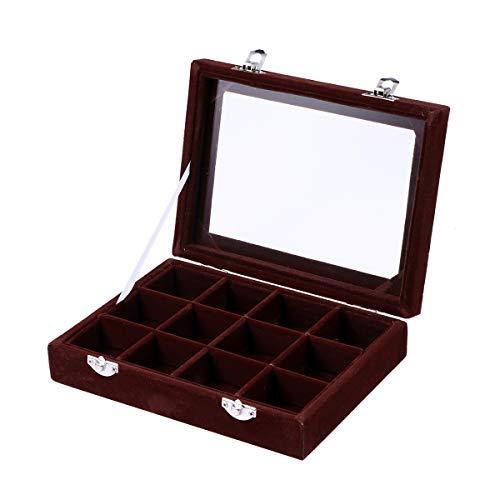 BESPORTBLE 1 stück Holzgitter Schmuck Aufbewahrungsboxen Schmuck Organizer Glasraster Schmuck Fall für Ring Ohrringe (Dunkelbraun)