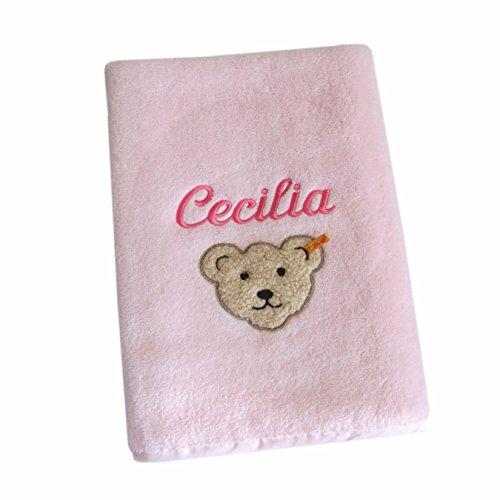 Steiff Handtuch mit Ihrem Wunschnamen in der abgebildeten Stickschrift bestickt, Steiff Collection rosa 50 cm x 100 cm