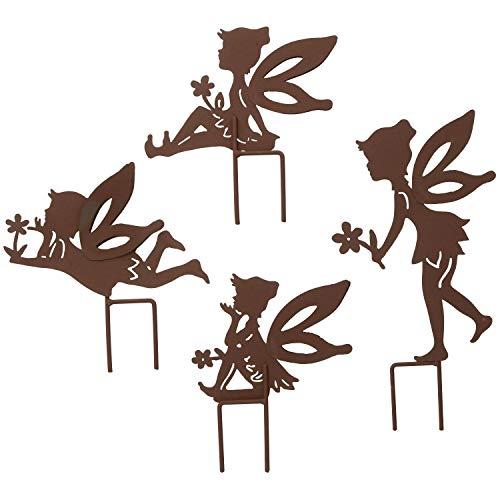 AB Tools Ensemble de 4 Petites Silhouettes de fées Rustique avec Jeu Déco Jardin Ornement