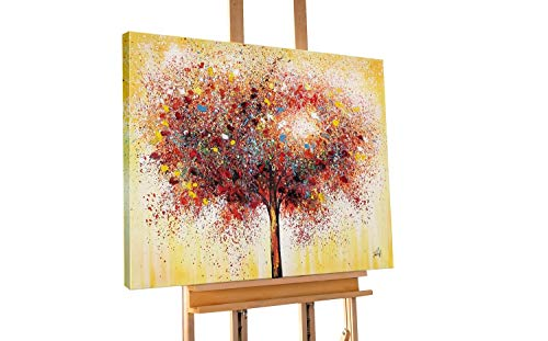 KunstLoft® Acryl Gemälde 'Auserwählt' 90x70cm   original handgemalte Leinwand Bilder XXL   Baum Natur Gelb Bunt   Wandbild Acrylbild Moderne Kunst einteilig mit Rahmen