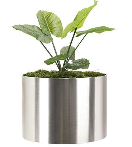 """Modern Large Planter Round Knox Brushed Stainless Steel Planter Best XL Extra Large Metal Planter Indoor Outdoor Pot 24"""" D x 20 Inch Tall Contemporary Heavy-Duty Cylinder Architectural Floor Planter"""