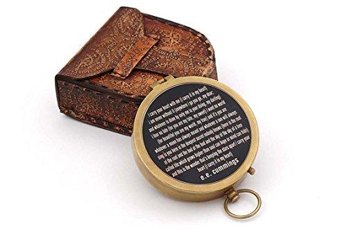 Roorkee Vintage messing kompas met handgemaakte lederen kast/E.E. Cummings magnetische kompas voor navigatie/drukknop zak kompas voor kamperen, wandelen, reizen