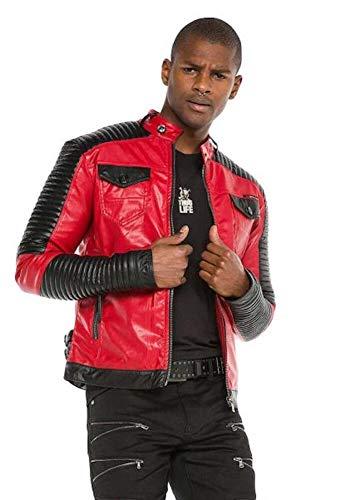 Cipo & Baxx Herren Bikerjacke Kunstlederjacke Übergangsjacke Gesteppt Jacke Rot M