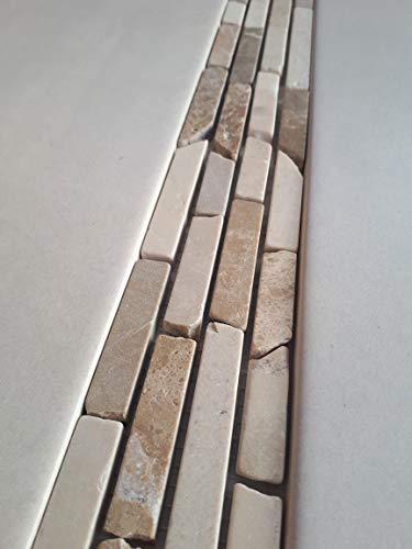Naturstein Mosaik Bordüre aus spanischem Emperador Light und Crema Marfil Marmor im Format von 30 x 5,4 cm