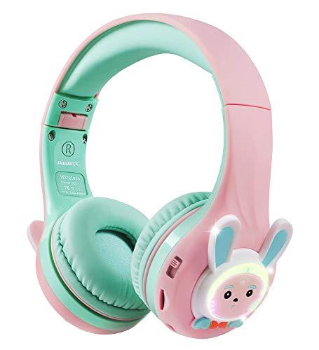 Riwbox RB-7S - Auriculares para niños, Bluetooth con luz LED inalámbricos Plegables Volumen sobre la Oreja Seguro Limitado 75dB/85dB/95dB con micrófono Tarjeta TF, Auriculares niños (Rosa y Verde)