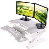[Upgrade]Eureka Ergonomic V2 Sit To Stand Desk Converter, 36'' Height Adjustable Standing Desk Risers Converters Desktop Stand Computer Workstation Home Office Computer Desk with Keyboard Tray - White