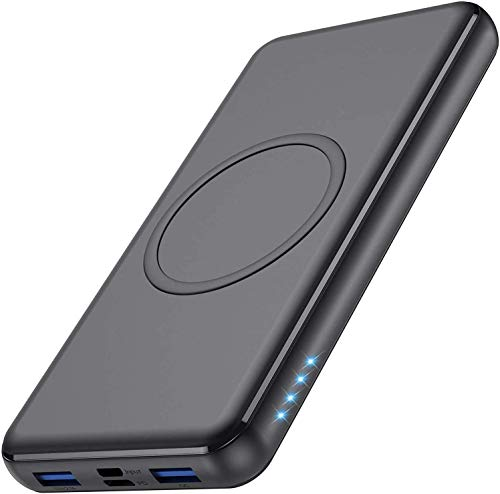 iPosible 10W Power Bank Wireless 26800mA,18W PD Type-C&USB QC 3.0 Caricabatterie Portatile Senza Fili Veloce Qi Rapida Caricatore Portatile Wireless Batteria Esterna per iPhone,Samsung e altro-Nero