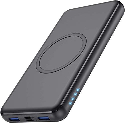 iPosible Batería Externa Carga Inalámbrica Qi 26800mAh 18W PD Powerbank Wireless Quick Rápido Portátil Cargador Portátil inalámbrica QC 3.0 Doble Entradas 4 Salidas para iPhone 12/11, Samsung AirPods