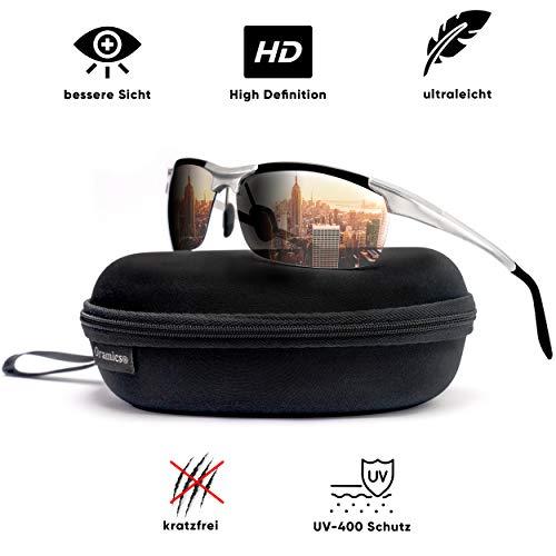 Oramics® 9 lagige Sport-Sonnenbrille Polarisiert Unisex mit starkem UV-400 Schutz - Hochwertiger Metallrahmen inkl. Aufbewahrung - Perfekt für Fahrrad, Motorrad, Auto + alle Outdoor-Aktivitäten