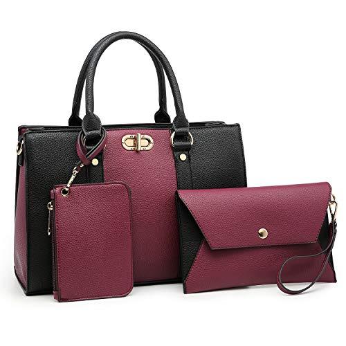 Dasein Women Handbags Top Handle Satchel Purse with Matching Wallet Set 3Pcs (Purple/Black)