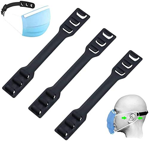 Mask Extender Strap - Adjustable Mask Ear Protector Holder Hook, Ear Strap Accessories Resafy Extenders for Relieve Pressure and Pain for Ear (3PCS, Black)